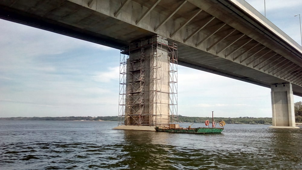 Модулно скеле Layher Allround при ремонт на Дунав мост 2