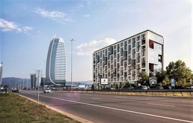 Рамково скеле Layher SpeedyScaf за построяването на офис сградата Space Tower от Главболгарстрой
