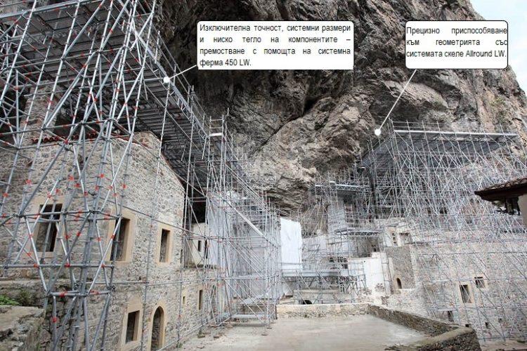Система скеле Allround LW около скалния манасир Сумела: по-лесна логистика и монтаж