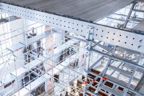 Алуминиеви греди FlexBeam и модулно скеле Allround – перфектната конструкция за оценка и реставрация