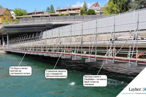Алуминиеви греди FlexBeam – Изграждане на икономична конструкция скеле с висока товароносимост и малка височина върху мостовете Сенти